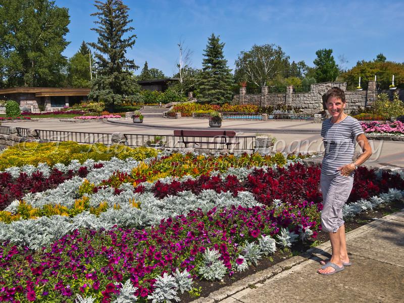 At the International Peace Gardens flower gardens.
