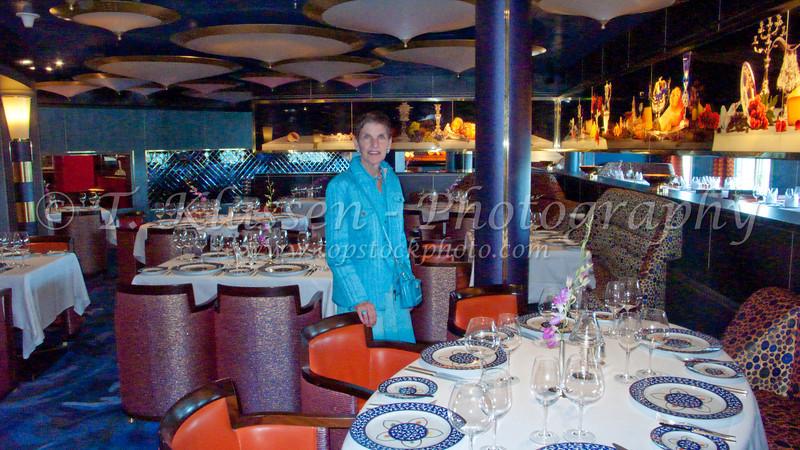The dining room on the Holland America Cruiseship Westerdam.