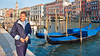 Gondolas along the Grand Canal in Venice, Italy.