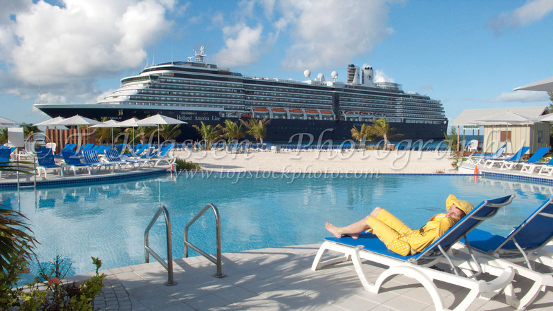 Relaxing at the cruise ship terminal in the Turks and Caicos Islands, Caribbean.