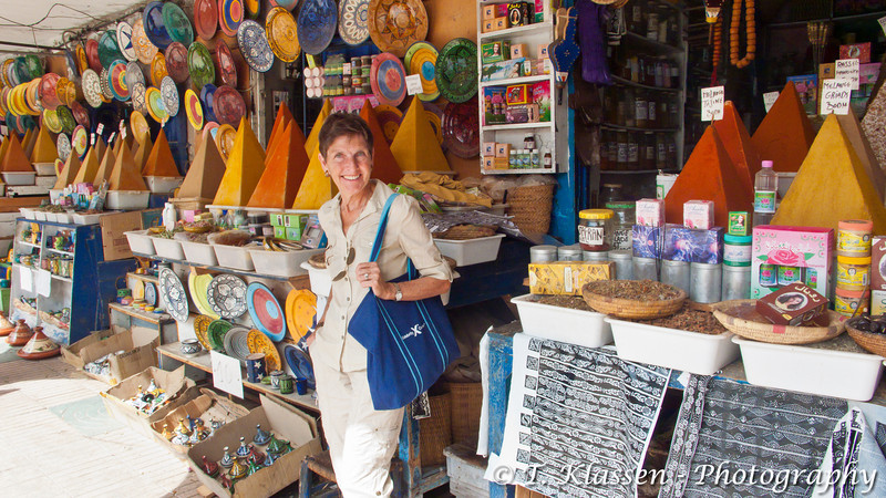 Esther Anne at the medina market in Essaouira in western Morocco, North Africa.