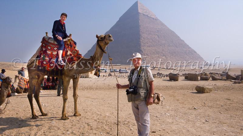 A camel ride at the pyramids of Giza, Egypt.