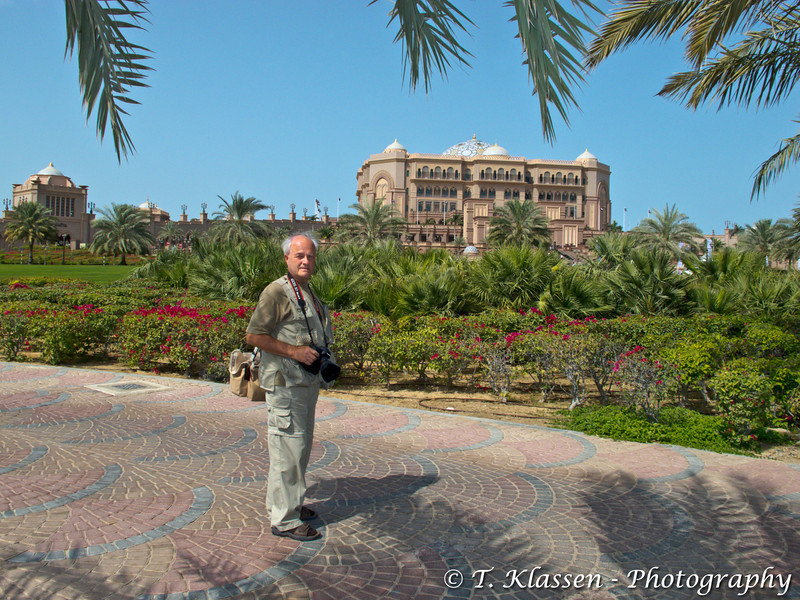 The exterior grounds of the seven star Emirates Palace Hotel in Abu Dhabi, UAE.