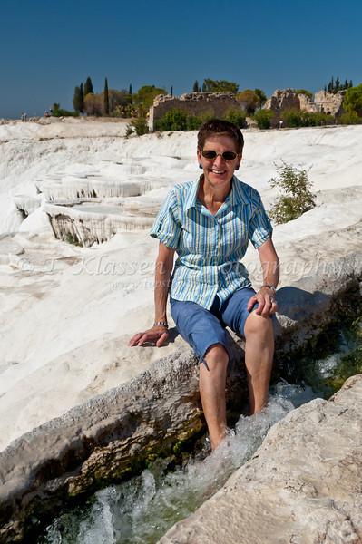 White travertine pools on the hillside at Pamukkale, Turkey, Eurasia.