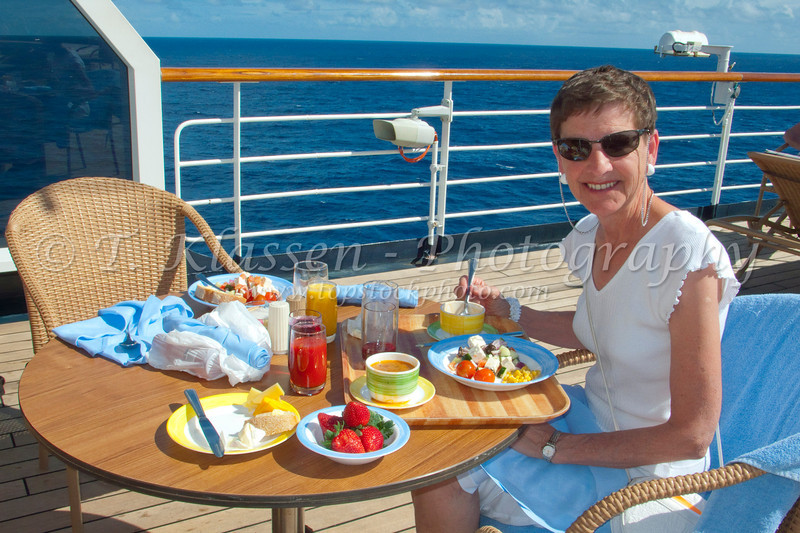 Lunch on deck on the Holland America Cruiseship Westerdam.