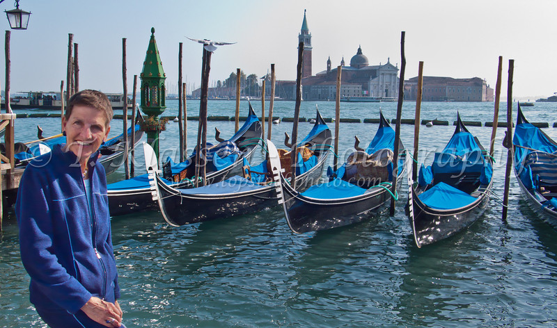 Gondolas along the Grand Canal in Venice, Italy.