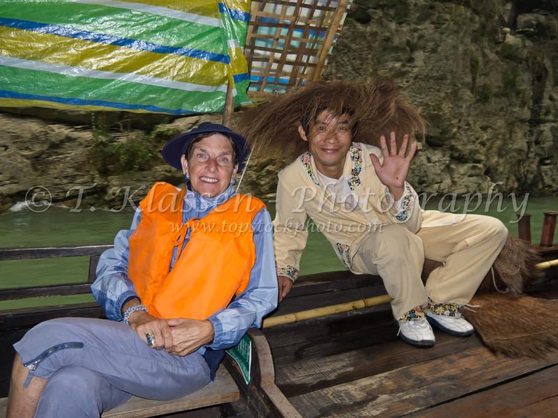 A Chinese sampan ride on the Yangtze River, China.