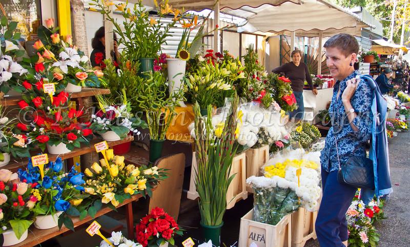 A display of fresh cut flowers in Croatia.