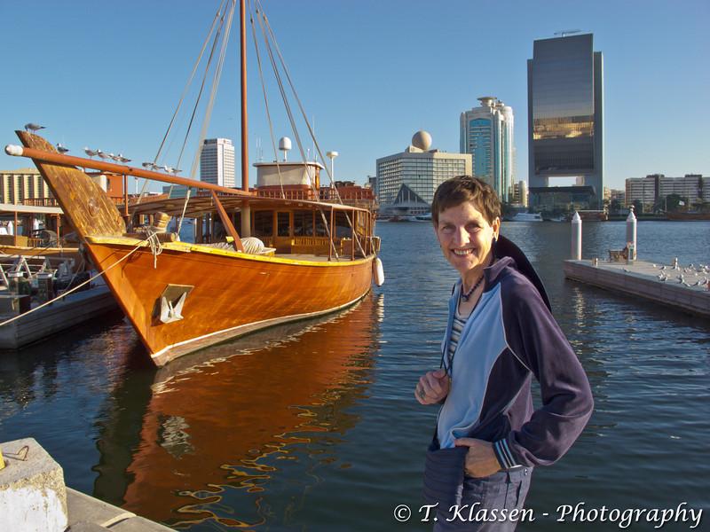 Sightseeing tourboat on Dubai Creek, UAE.