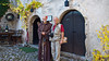 A wine cellar and a Franciscan Friar in Bled, Slovenia.