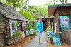 Craft shops and stores in the historic district of St. Augustine, Florida, USA.