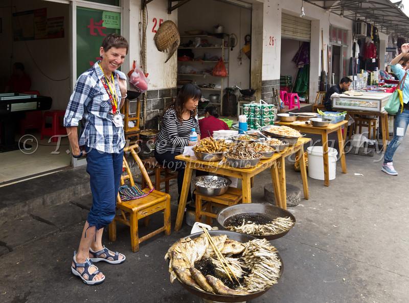 A a local street market in Shanghai, China.