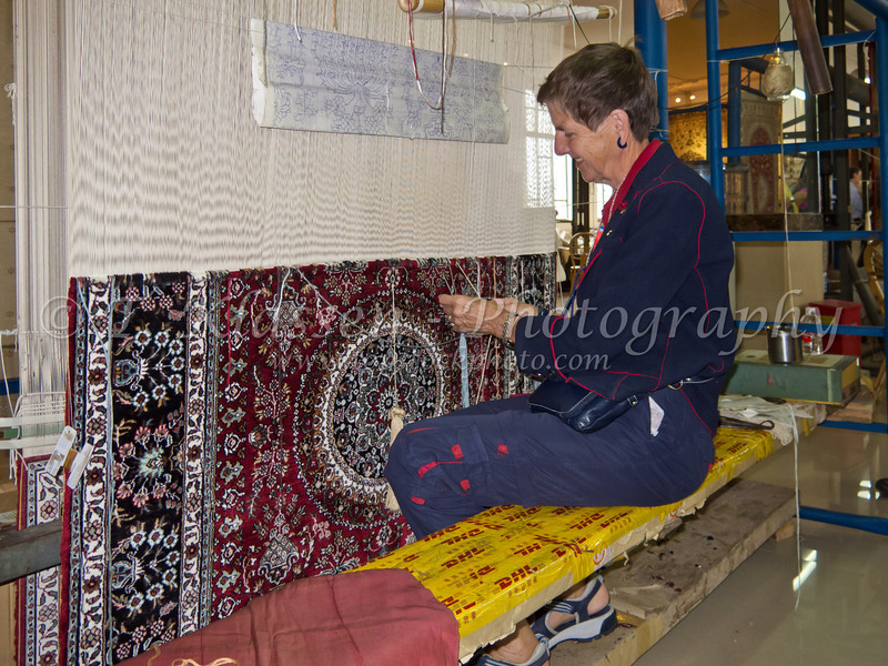 Weaveing a silk carpet at the Silk Factory in Shanghai, China.