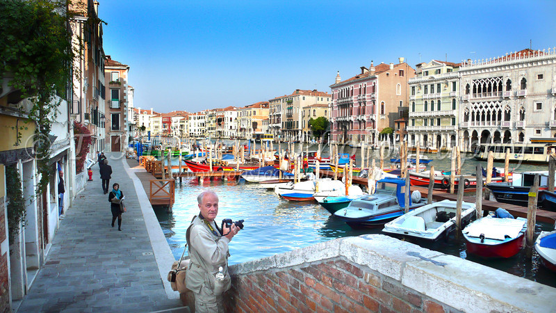 Photographing on the Grand Canal oF Venice, Italy.