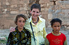 Two young girls pose with Esther Anne in Harran, Turkey, Asia Minor.