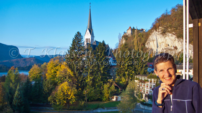 Fall foliage and church in Bled, Slovenia.