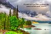 Low hanging clouds on Medicine Lake in Jasper National Park, Alberta, Canada.
