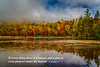 Mist and fall foliage around the lake at Mont-Tremblant, Quebec, Canada.