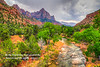 The Watchman and the Virgin River Valley in Zion National Park, Utah, USA.