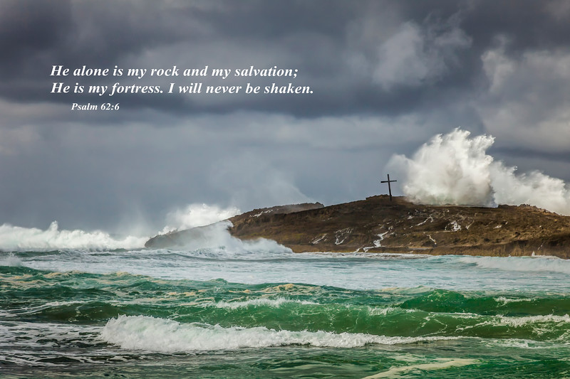 A storm at sea with a cross on the north coast of Puerto Rico, Caribbean.