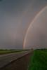 Rainbow on the prairies near Winkler, Manitoba, Canada.