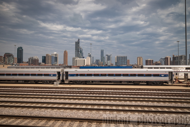 Leaving Union Station, you pass through the Metra yard on the left, and the Amtrak yard on the right,