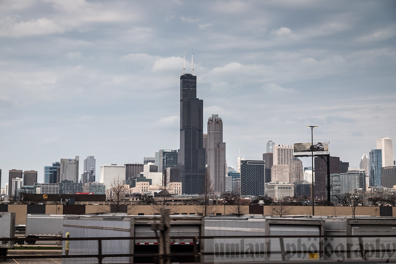 On the way.  After leaving the underground of Union Station, the Chicago skyline is viewable.