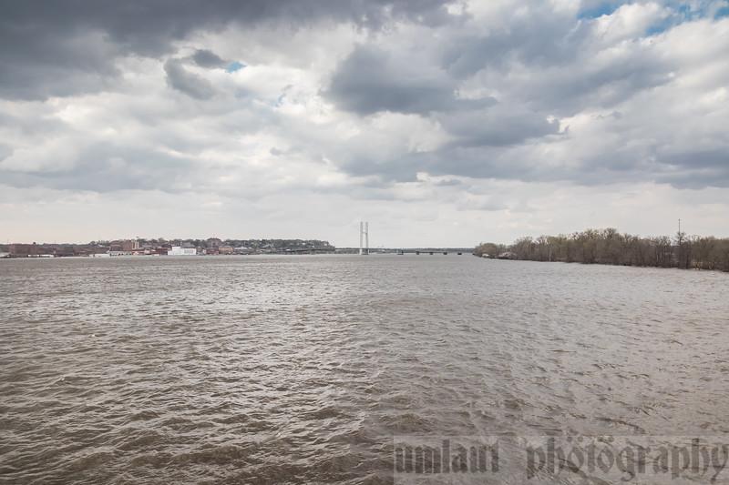 Crossing the Mississippi River into Burlington, Iowa.
