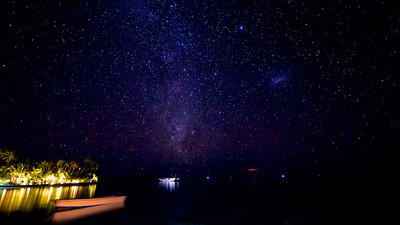 Starry night sky in Wakatobi, timelapse of Milkyway from the Jetty Bar