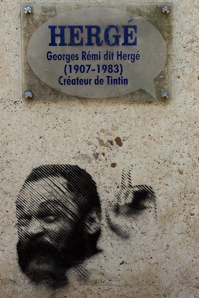 Street Art on Plinth of Herge's Bust - Angouleme