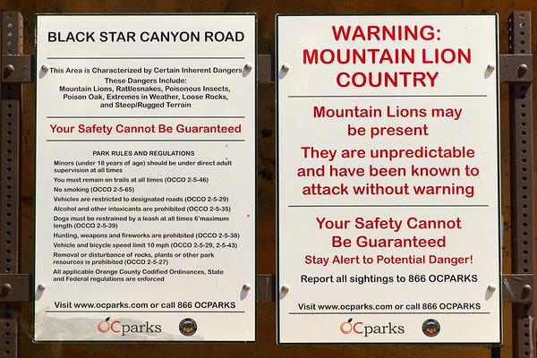 Black Star Canyon Sign - California
