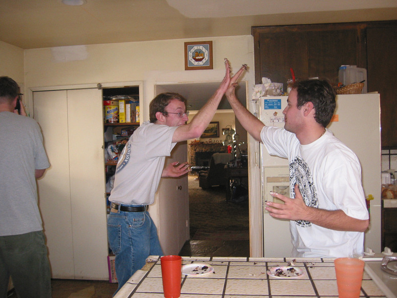 We celebrate our competition with messy fingers in an awkwardly awesome high-five. :o)