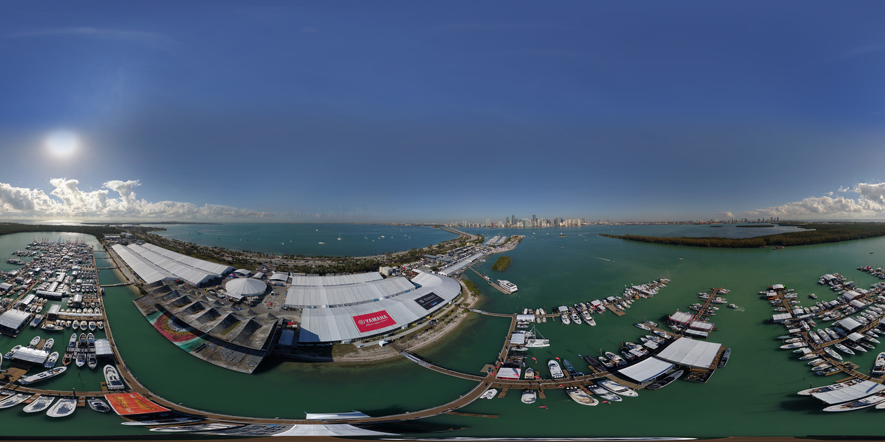 Aerial spherical image of the Miami International Boat Show Key Biscayne Florida