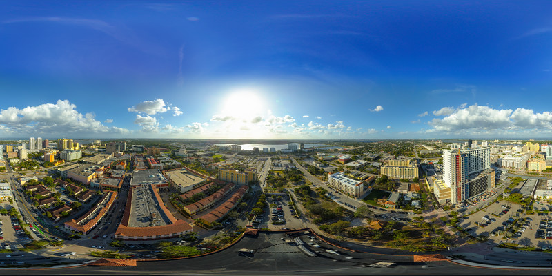 Aerial spherical image Downtown West Palm Beach Florida