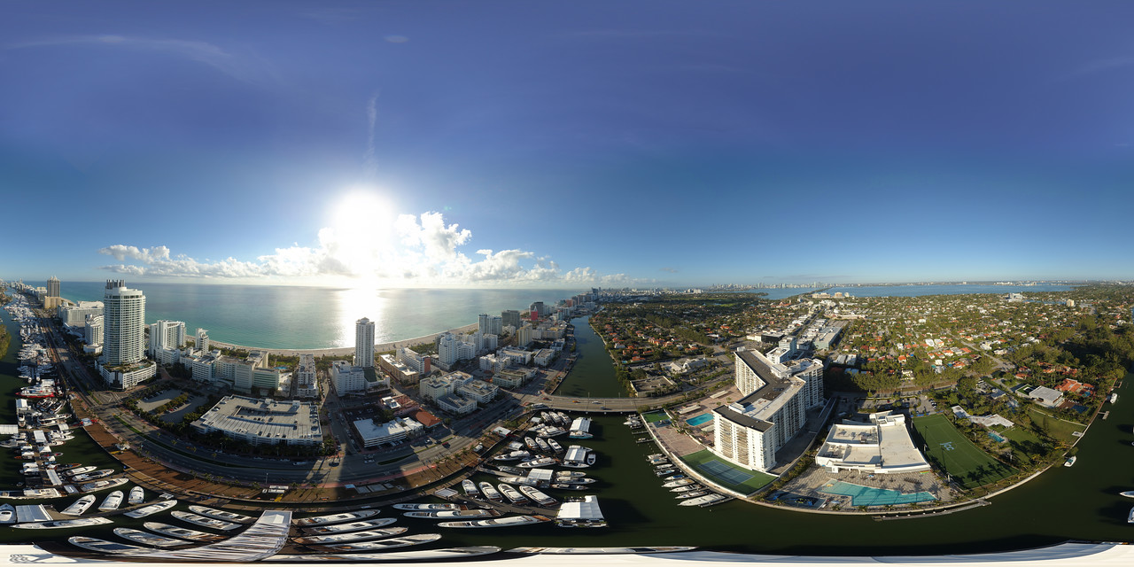 Aerial panorama Miami International Boat Show 2018
