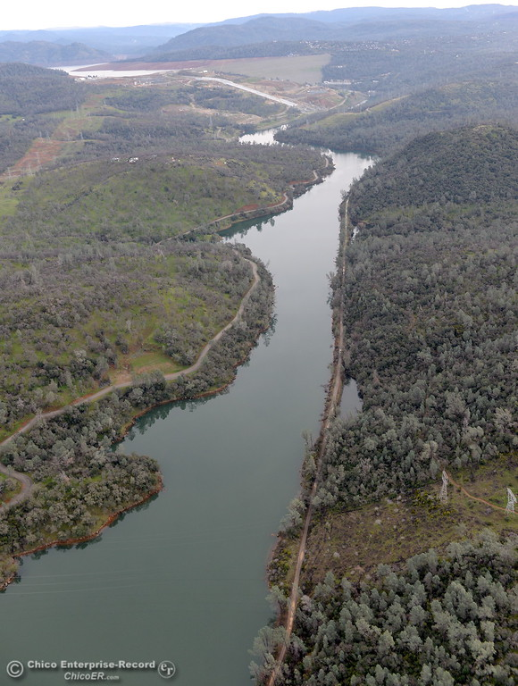 . This is a view from the air looking upstream toward the Lake Oroville Dam seen during a look at the ongoing construction around the spillway and Lake Oroville Dam area Friday Jan. 26, 2018.  Bill Husa -- Enterprise-Record)