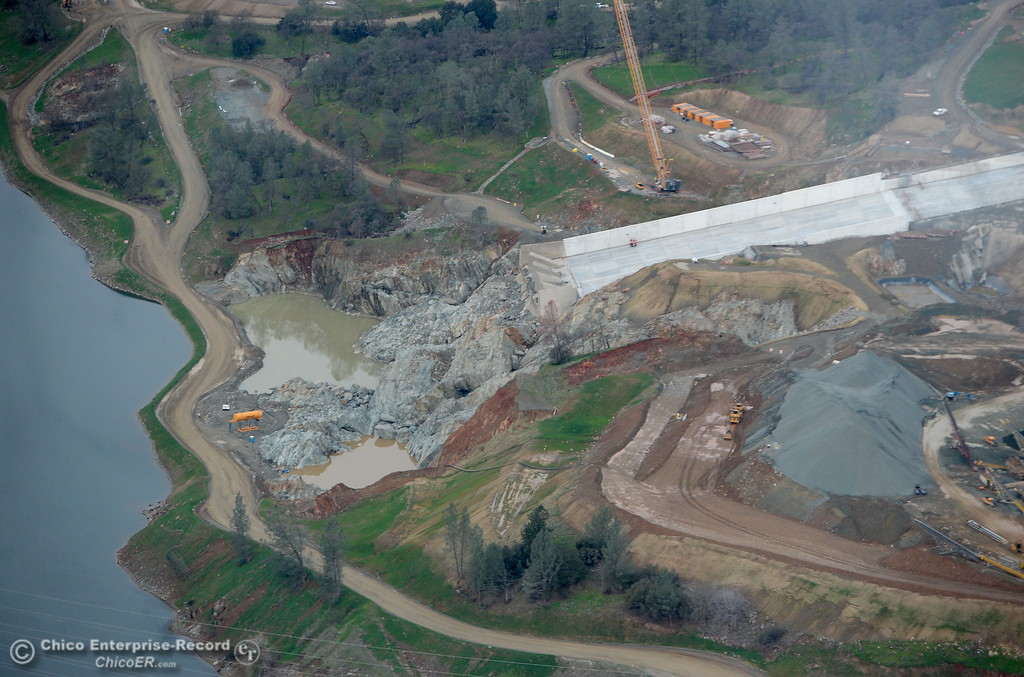 . The bottom section of the spillway is seen from the air during a look at the ongoing construction around the spillway and Lake Oroville Dam area Friday Jan. 26, 2018.  Bill Husa -- Enterprise-Record)