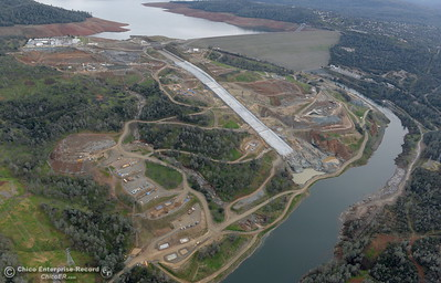 An aerial view of the river below the spillway is seen during a look at the ongoing construction around the spillway and Lake Oroville Dam area Friday Jan. 26, 2018.  Bill Husa -- Enterprise-Record)