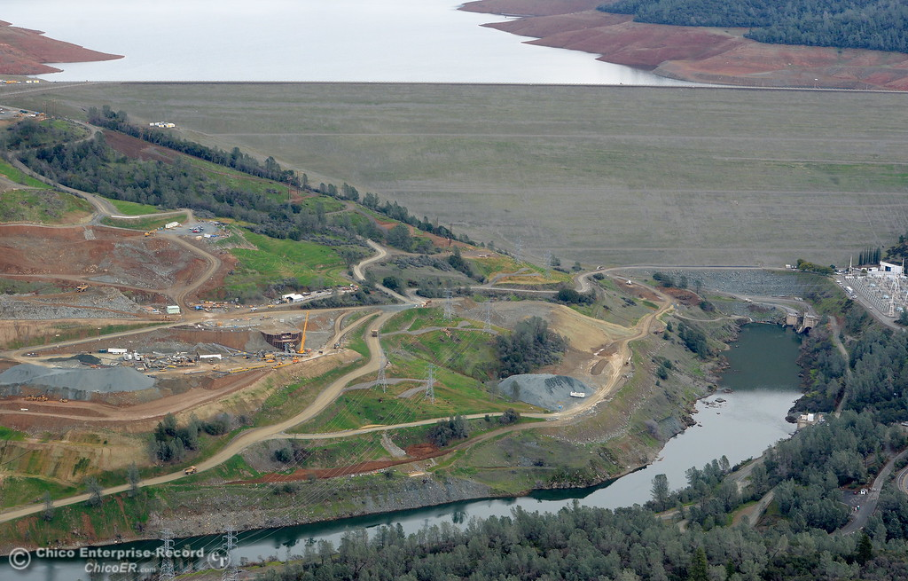. An aerial view of the back side of the Lake Oroville Dam is seen during a look at the ongoing construction around the spillway and Lake Oroville Dam area Friday Jan. 26, 2018.  Bill Husa -- Enterprise-Record)