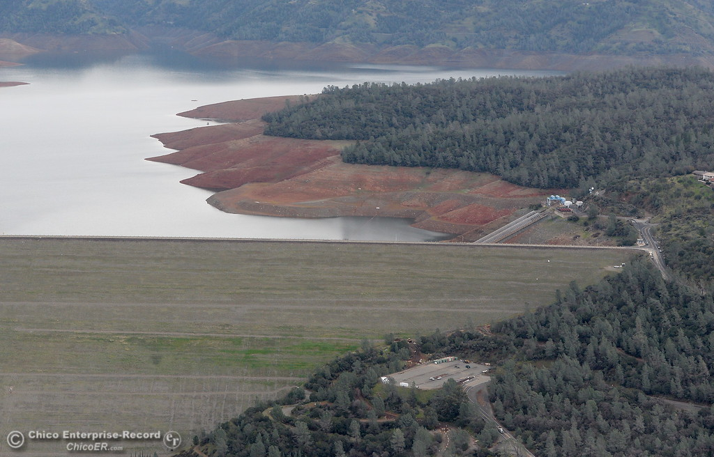. An aerial view of the back side of the Lake Oroville Dam with an area that has been questioned for having greenery growing is showing during a look at the ongoing construction around the spillway and Lake Oroville Dam area Friday Jan. 26, 2018.  Bill Husa -- Enterprise-Record)