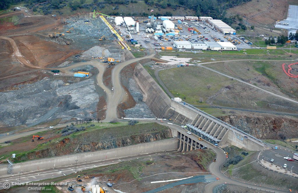 . An aerial view of the emergency spillway and Spillway Launch Facility parking lot are seen during a look at the ongoing construction around the spillway and Lake Oroville Dam area Friday Jan. 26, 2018.  Bill Husa -- Enterprise-Record)