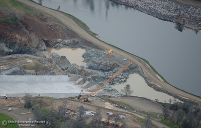 An aerial view of the bottom section of the spillway is seen during a look at the ongoing construction around the spillway and Lake Oroville Dam area Friday Jan. 26, 2018.  Bill Husa -- Enterprise-Record)