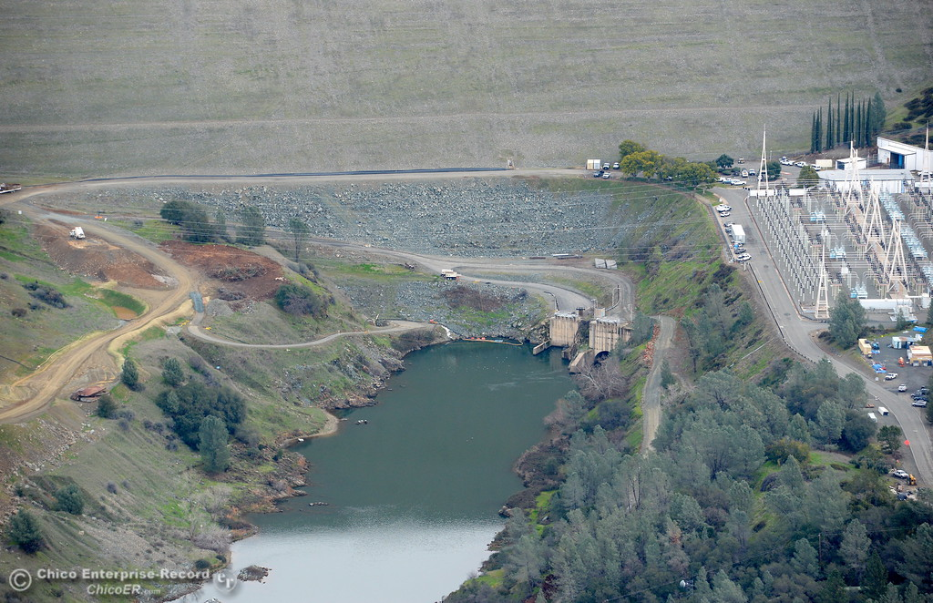 . An aerial view of the back side of the Lake Oroville Dam and Hyatt Powerhouse is seen during a look at the ongoing construction around the spillway and Lake Oroville Dam area Friday Jan. 26, 2018.  Bill Husa -- Enterprise-Record)