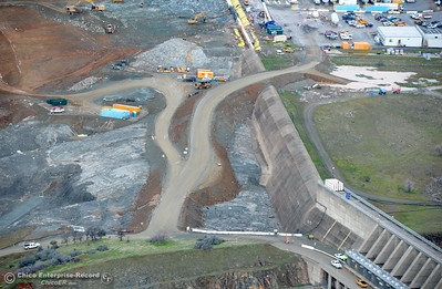 An aerial view of the emergency spillway and Spillway Launch Facility parking lot are seen during a look at the ongoing construction around the spillway and Lake Oroville Dam area Friday Jan. 26, 2018.  Bill Husa -- Enterprise-Record)