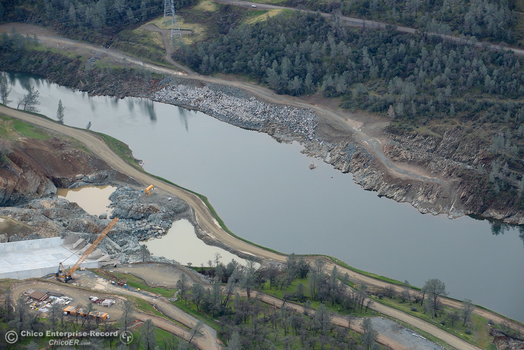 . An aerial view of the bottom section of the spillway is seen during a look at the ongoing construction around the spillway and Lake Oroville Dam area Friday Jan. 26, 2018.  Bill Husa -- Enterprise-Record)