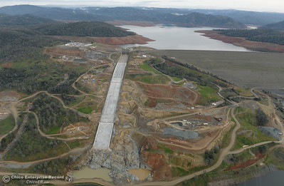 An aerial view of the spillway and Lake Oroville are seen during a look at the ongoing construction around the spillway and Lake Oroville Dam area Friday Jan. 26, 2018.  Bill Husa -- Enterprise-Record)