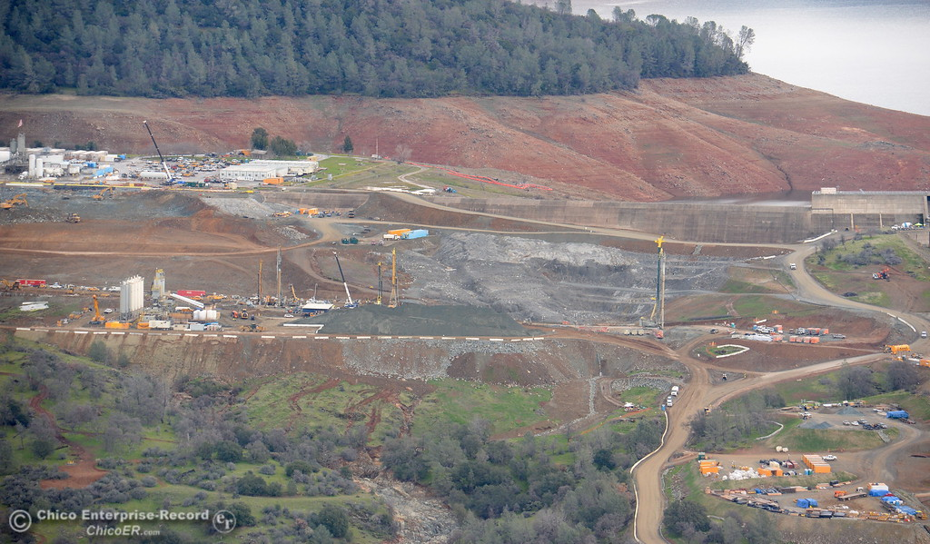 . This is a look toward the back side of the emergency spillway seen during a look at the ongoing construction around the spillway and Lake Oroville Dam area Friday Jan. 26, 2018.  Bill Husa -- Enterprise-Record)