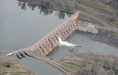 The Diversion Dam is seen from the air during a look at the ongoing construction around the spillway and Lake Oroville Dam area Friday Jan. 26, 2018.  Bill Husa -- Enterprise-Record)