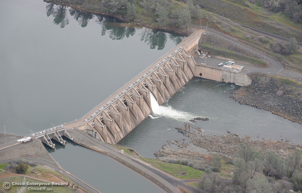 . The Diversion Dam is seen from the air during a look at the ongoing construction around the spillway and Lake Oroville Dam area Friday Jan. 26, 2018.  Bill Husa -- Enterprise-Record)