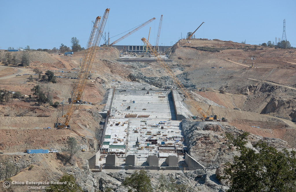. Work continues at the Oroville Dam Spillway  in Oroville, Calif. Tues. Aug. 29, 2017. (Bill Husa -- Enterprise-Record)
